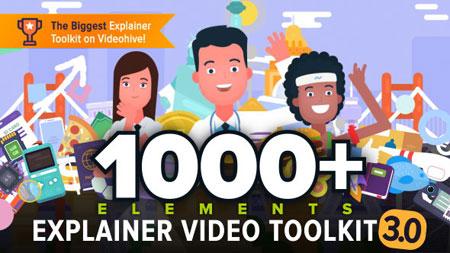 1000种MG卡通人物解说场景动画AE模板素材下载