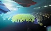 露天足球场馆与飘扬的国旗高清图片