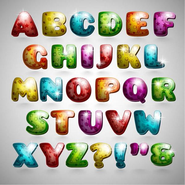 卡通质感饼干字母矢量艺术字体