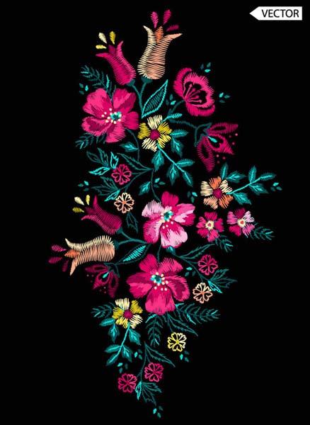 苏式刺绣花卉图案背景矢量素材