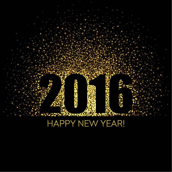 新年快乐光晕艺术字贺卡矢量素材用高贵的金色光晕