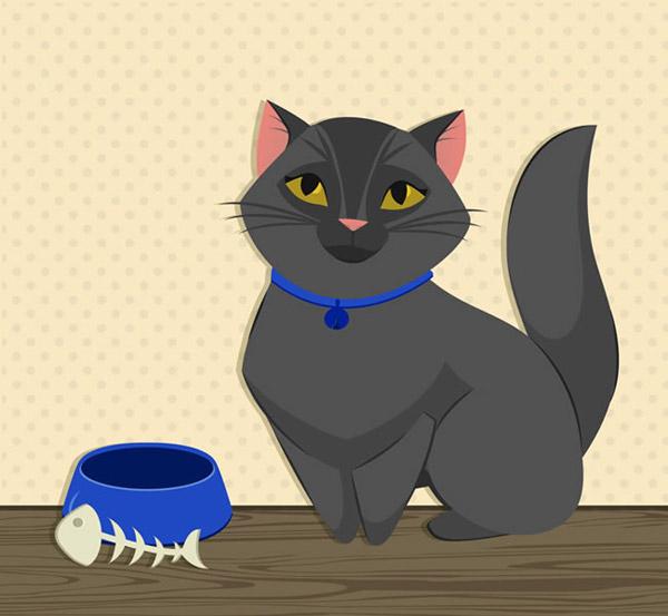 卡通宠物猫咪和鱼骨头背景设计矢量素材