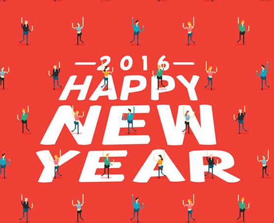 2016新年人物艺术字贺卡矢量素材