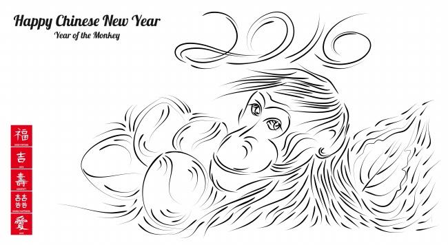 猴年新年创意数字猴子简笔画高清图片下载