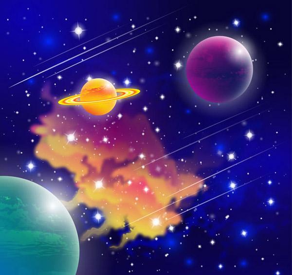 梦幻宇宙星球科技背景矢量素材