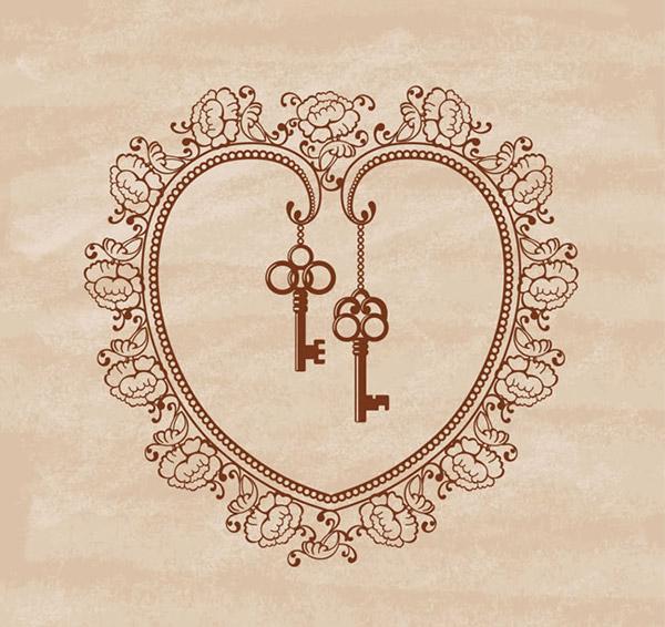 花纹爱心和钥匙创意情人节背景矢量素材