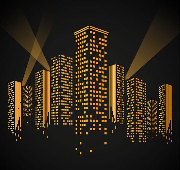 夜晚橙色建筑楼群灯光背景矢量素材