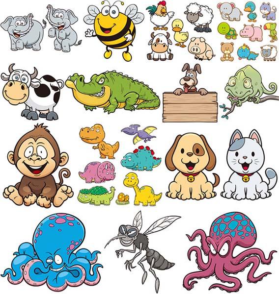 卡通小动物聚会矢量素材下载