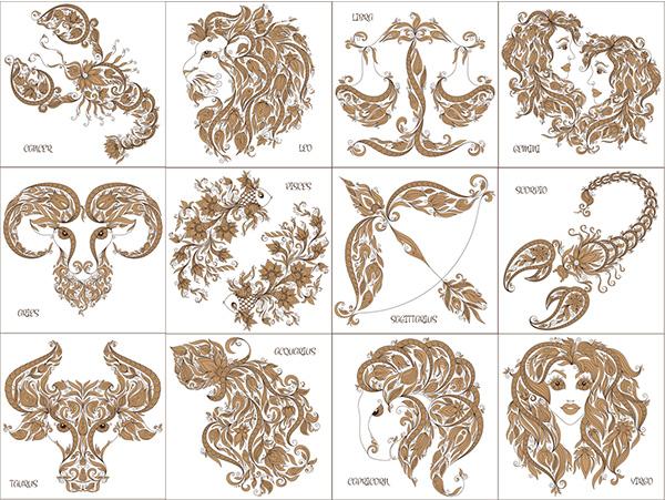 12星座创意设计图标矢量素材图片