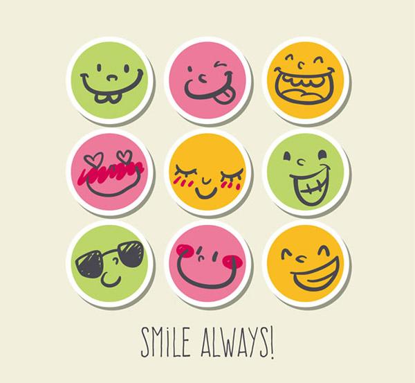 圆形纸质笑脸图标设计矢量素材