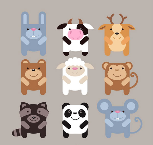 可爱方形动物设计图标背景矢量素材
