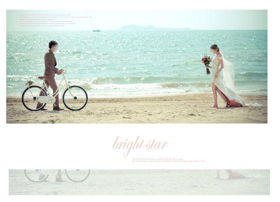 婚纱照相册模板 海边单车