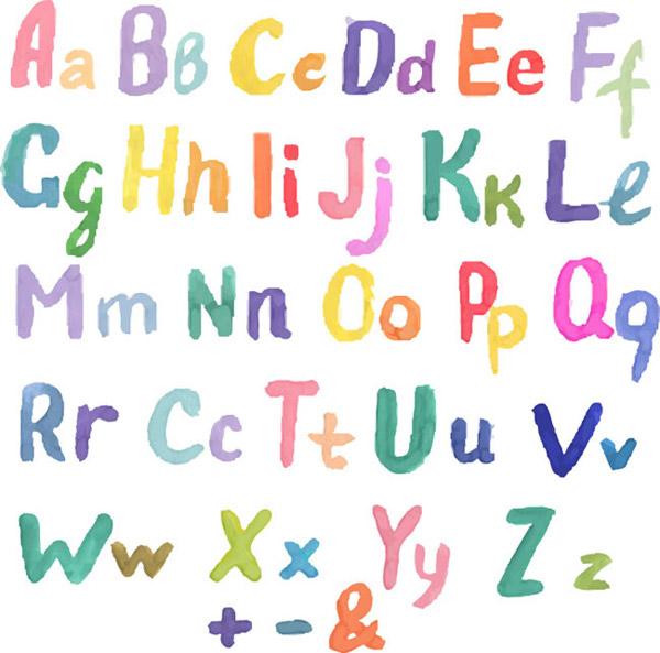 水彩大小写英文字母设计矢量艺术字体图片