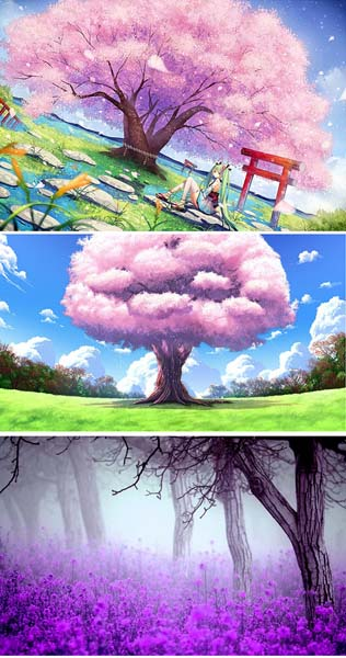 唯美卡通樱花插画背景psd素材下载 - 数码资源网