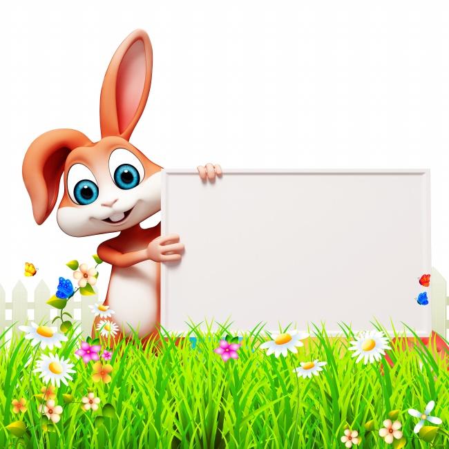 复活节卡通兔子举牌照高清图片