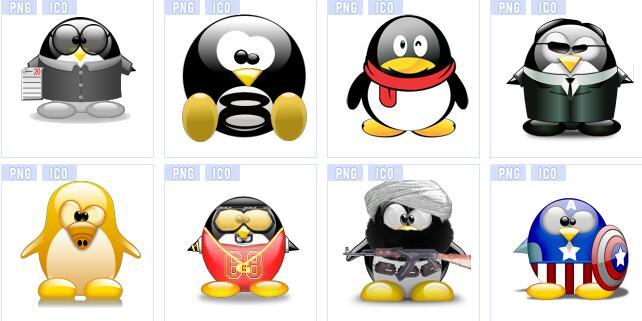 可爱卡通企鹅系列图标素材