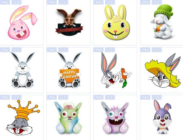 小白兔卡通形象设计图标素材