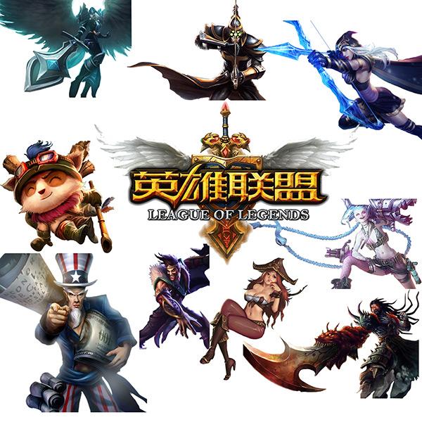 英雄联盟游戏人物背景矢量素材