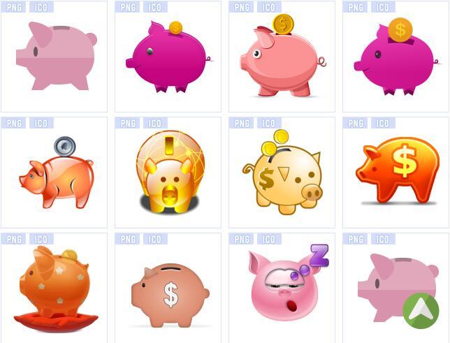 彩色小猪存钱罐图标素材
