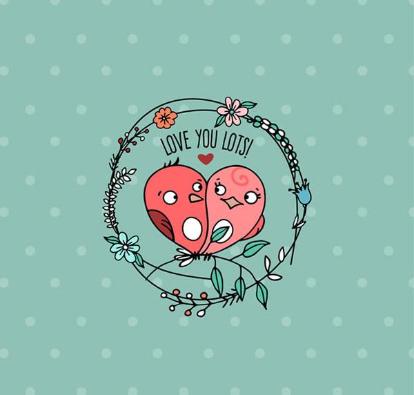 秀恩爱是不分物种的,现在都是小情侣们在秀恩爱的时刻,卡通情侣小鸟植物清新背景矢量素材展示的就是绿色清新背景加上花环圆环中展示的一对儿小鸟,可爱卡通的小鸟依偎在一起,详细还请见JPG缩略图,喜欢可以点击下载收藏!
