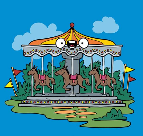 卡通游乐园旋转木马背景矢量素材