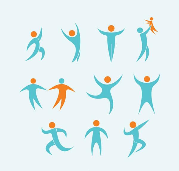 简约人物标志设计背景矢量素材用可爱简约的线条图形来展示人物,不同