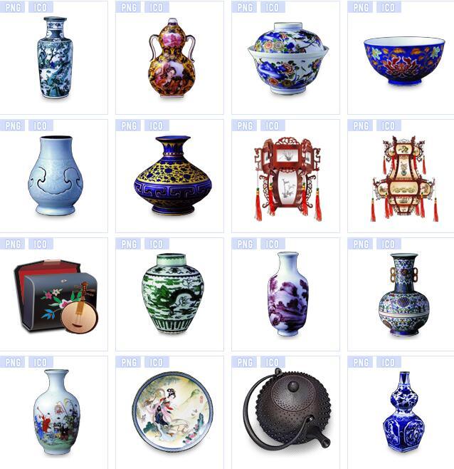 中国风陶瓷杯子图标素材