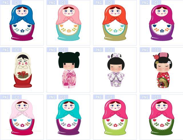 中国娃娃套娃图标素材