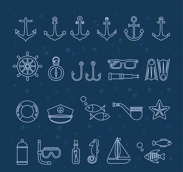 航海船锚元素图标设计矢量素材