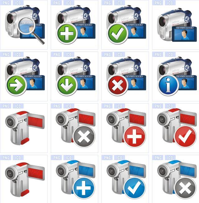 多种照相机摄像机图标素材