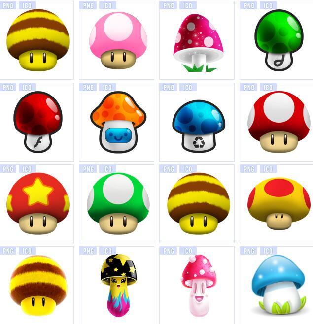 可爱的蘑菇拟人化,将蘑菇加上了眼睛和漂亮的彩色