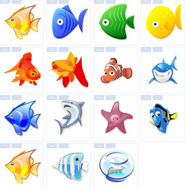 海洋花纹彩色小鱼图标素材
