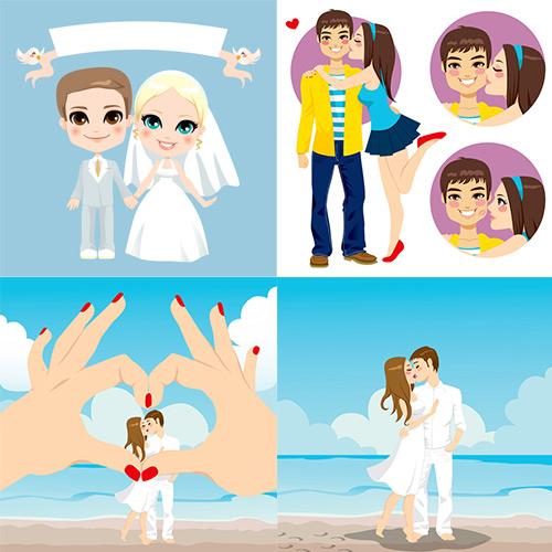 秀恩爱男女情侣背景矢量素材展示的就是新婚卡通小人,亲吻秀恩爱结婚