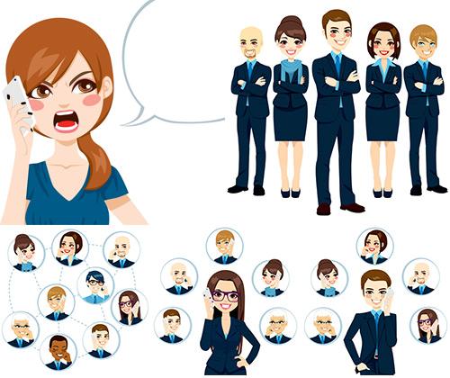 职业人物商务职员背景设计矢量素材展示了打电话的联