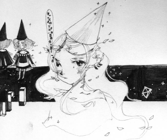 手绘铅笔画卡通动漫美女高清图片