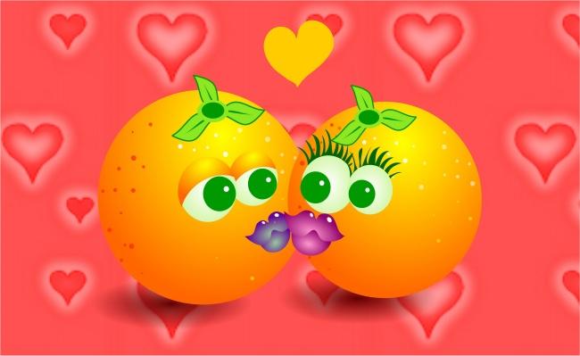 桔子 爱心 桌面壁纸