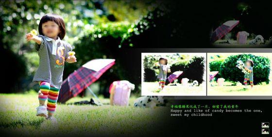此乃儿童相册模板 快乐time系列的第六张模板,使用了三张儿童照片,采用黑色调作为本张儿童相册模板的背景主色调,左边的那张儿童照片是本张儿童相册模板展现的重点,照片中的小女孩站在草坪上,面带微笑抬头看着前方,十分的可爱,右边则使用了两张横版儿童照片,同时搭配以艺术线条、绿叶和精美的艺术文字等元素所综合设计而成,以表现可爱的儿童为重点,详细效果如下面JPG缩略图所示,欢迎下载制作。
