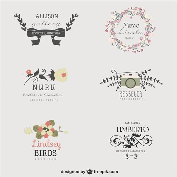 花纹设计图案可以用在多种场合当背景, 简约婚礼花纹艺术字logo设计