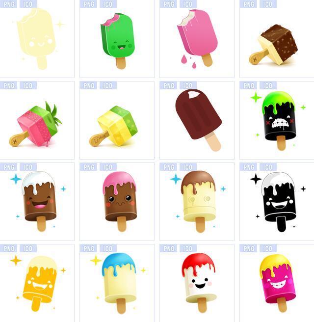 卡通冰淇淋雪糕图标素材展示的额就是我们熟悉的雪糕冰淇淋,融化的