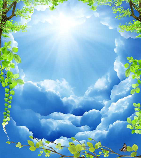 蓝天白云绿叶背景清新风景psd素材,展示的就是大自然带给我们的最美