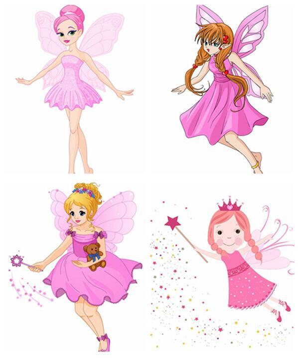卡通美丽花仙子翅膀精灵设计矢量素材展示的就是多种形象的花仙子人物