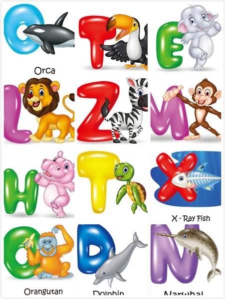 卡通动物字母创意设计矢量素材