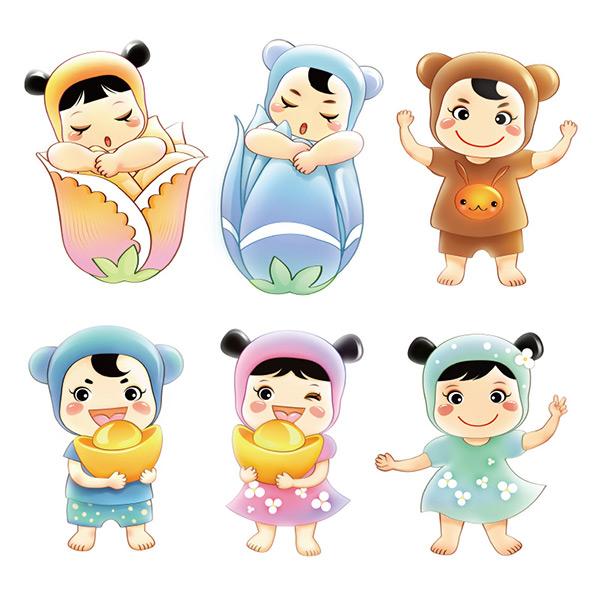 可爱卡通小孩子插画背景psd素材