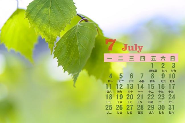 2016年7月桌面日历清新背景高清图片