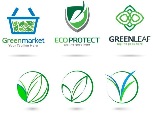 绿色叶子环保主题logo设计矢量素材