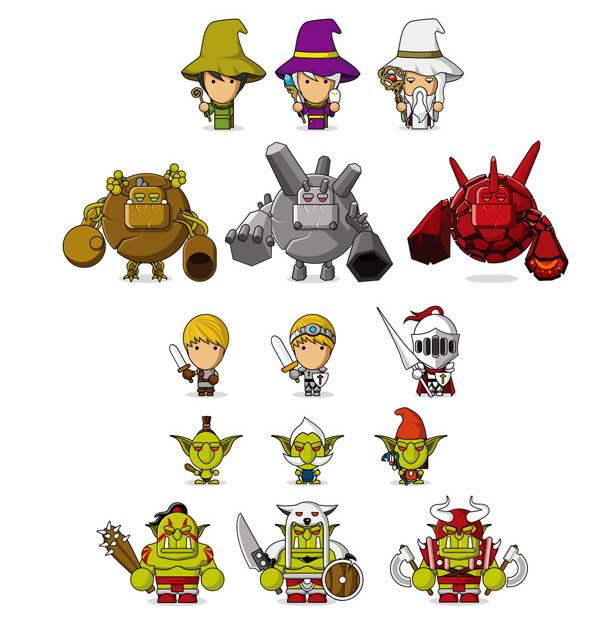 卡通呆萌游戏人物形象设计矢量素材