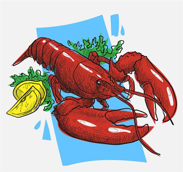 龙虾柠檬沙拉美食绘画矢量素材