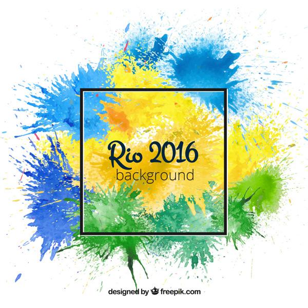 2016里约奥运会喷墨背景设计矢量素材图片