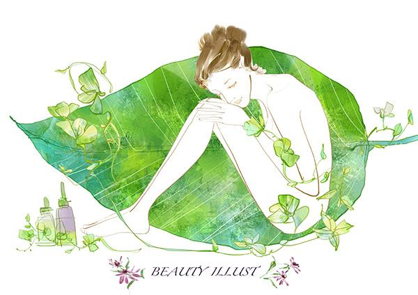 手绘彩色树叶上的女人插画psd素材