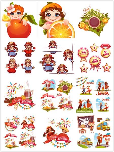 卡通儿童元素蔬果背景设计矢量素材